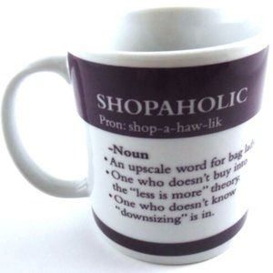 Shopaholic Pier 1 Imports Coffee Cup Purple White